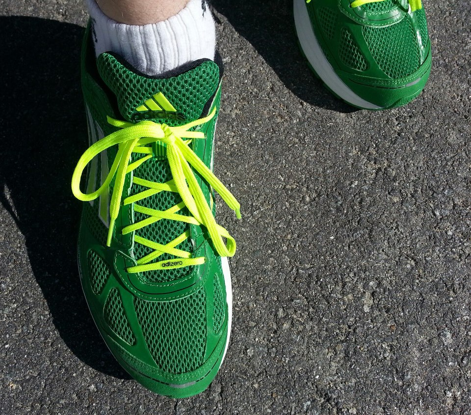 vince collins runs - adidas adizero green running shoes - ready set go